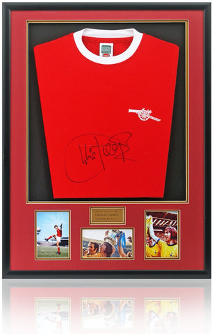 Arsenal Retro Shirt Hand Signed By Charlie George AFTAL Photo COA