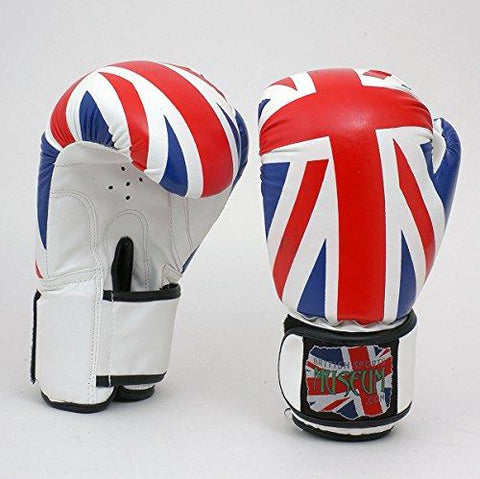 Union Jack British Flag PU Leather Look 12oz Full Size  Boxing Gloves