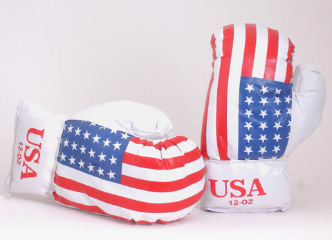 Stars And Stripes USA Flag PU Leather Boxing Gloves 12oz