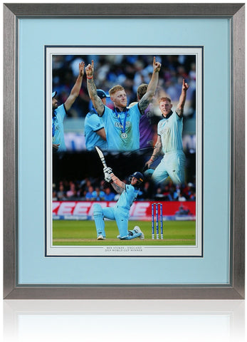 Ben Stokes Hand Signed England Cricket World Cup 2019 Montage AFTAL COA