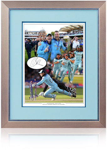 Jos Buttler MBE Hand Signed England Cricket World Cup 2019 Montage AFTAL COA