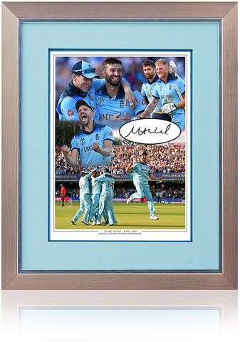 Mark Wood Hand Signed England Cricket World Cup 2019 Montage AFTAL COA