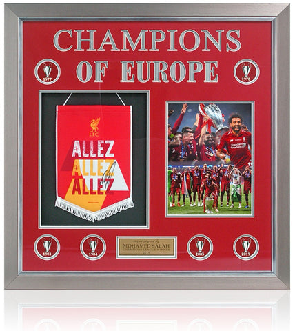 Liverpool Champions League Winners 2019 Presentation Hand Signed By Mohammad Salah