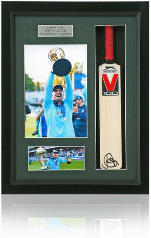 Jason Roy England Cricket World Cup Winner Hand Signed Mini Cricket Bat COA