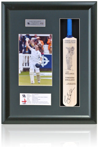 Gary Ballance England Yorkshire CCC Hand Signed Mini Cricket Bat COA