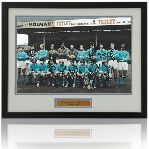 Manchester City 1968 Champions 1969 FA Cup 12x8'' photograph hand signed by 10 inc. Pardoe