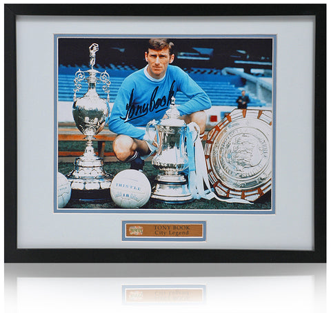 Tony Book Hand Signed 10x8'' Manchester City Trophy Photograph AFTAL COA
