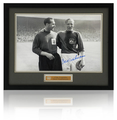 Bert Trautmann Hand Signed 12x8'' Manchester City Trophy Photograph Photo COA
