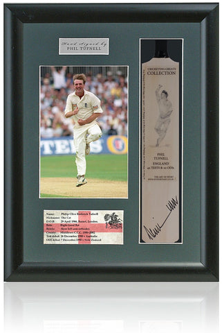 Phil Tufnell England Middlesex CCC Hand Signed Mini Cricket Bat COA
