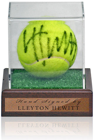 Lleyton Hewitt Hand Signed Tennis Ball in Display Case AFTAL COA