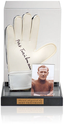 Bert Trautmann Hand Signed Goalkeepers Glove Manchester City Photo AFTAL COA