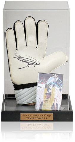 Tim Flowers Hand Signed Goalkeepers Glove Blackburn Rovers Photo AFTAL COA