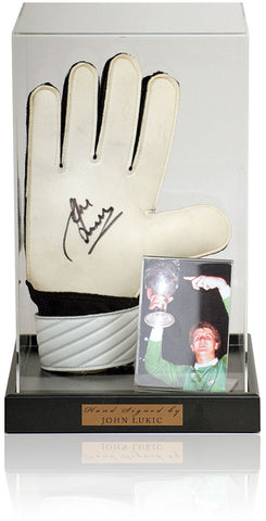 John Lukic Hand Signed Goalkeepers Glove Arsenal Photo AFTAL COA