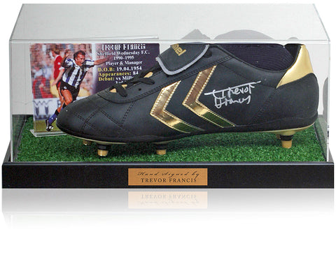Trevor Francis Hand Signed Football Boot Sheffield Wednesday Photo AFTAL COA