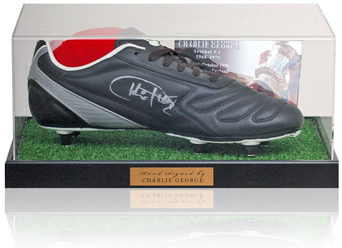 Charlie George Hand Signed Football Boot Arsenal AFTAL COA