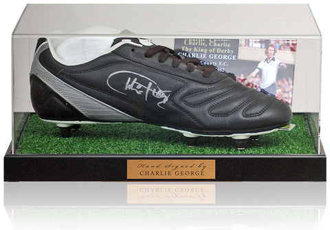 Charlie George Hand Signed Football Boot Derby AFTAL COA