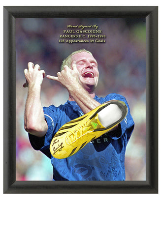 Paul Gascoigne Hand Signed Football Boot Rangers Dome Presentation AFTAL Photo COA
