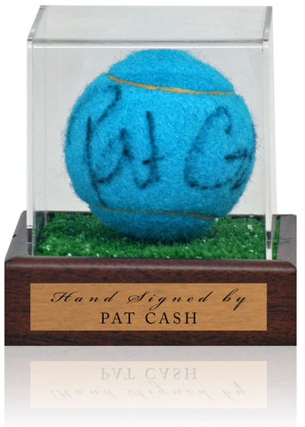 Pat Cash Hand Signed Blue Tennis Ball in Display Case AFTAL COA