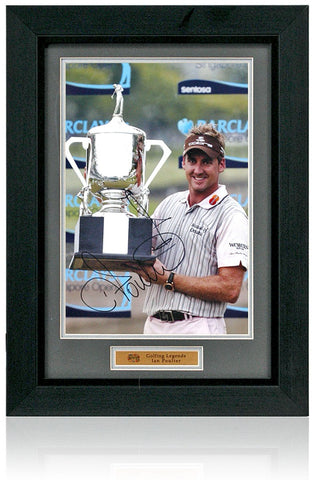 Ian Poulter Hand Signed 12x8'' Framed Golf Trophy Photograph AFTAL COA
