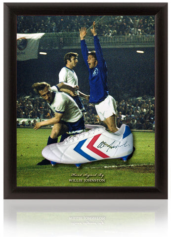 Willie Johnston Hand Signed Football Boot Rangers FC Dome Presentation Photo COA