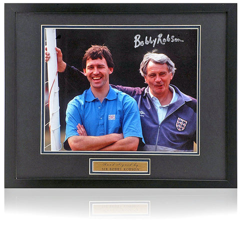 Bobby Robson Hand Signed England Football 10x8'' Photograph AFTAL Photo COA
