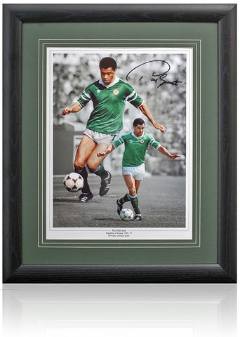 Paul McGrath Hand Signed Republic Of Ireland Montage AFTAL COA