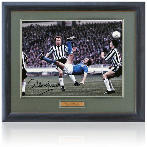Dennis Tueart Hand Signed 16x12'' Framed Manchester City Photograph AFTAL Photo COA