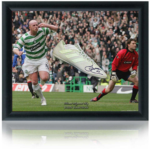 John Hartson Hand Signed Celtic FC Football Boot Domed Presentation AFTAL COA.