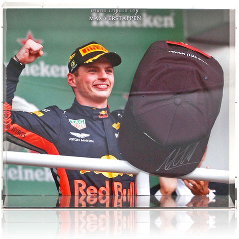 Max Verstappen Hand Signed Red Bull Formula 1 Baseball Cap Display AFTAL COA