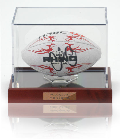 Chris Ashton Hand Signed Mini England Rugby Ball Display AFTAL Photo COA