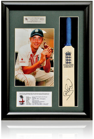 Stuart Broad MBE England Hand Signed Mini Cricket Bat Presentation AFTAL COA