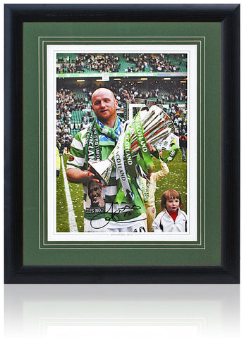 John Hartson Hand Signed 16x12'' Celtic Photo AFTAL Photo COA