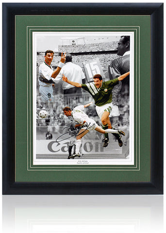 John Aldridge Hand Signed Republic of Ireland Montage AFTAL COA