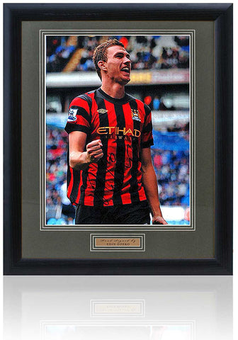 Large Edin Dzeko Manchester City Hand Signed Framed Photograph 23x19'' AFTAL COA