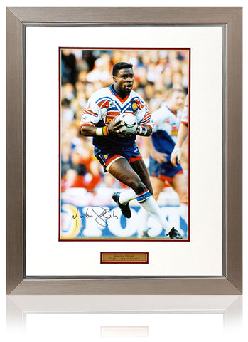 Martin Offiah MBE Hand Signed Great Britain Rugby League Faramed 16x12'' Photograph