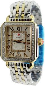 MICHELE Deco Madison Silver Sunray Dial Ladies Two Tone Watch MWW06T000144