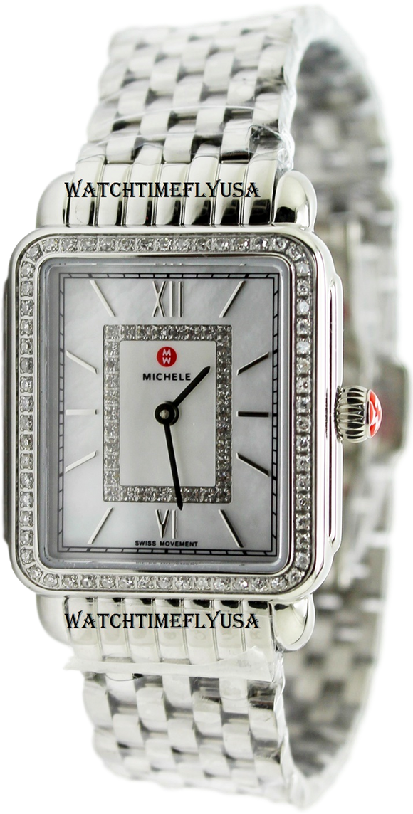 MICHELE Deco II Mother of Pearl Diamond Dial Ladies Watch MWW06I000001