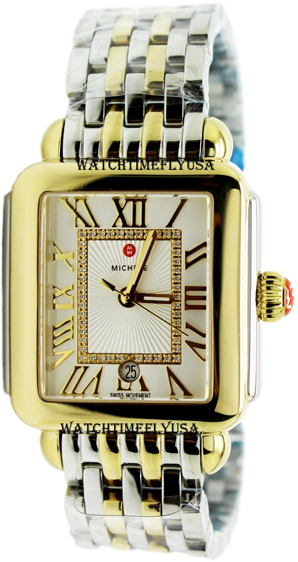 MICHELE Deco Madison Two-Tone, Diamond Dial Watch MWW06T000147