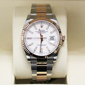 Rolex 126231 Steel/Rose Datejust 36 Watch Fluted White Index Dial Oyster Bracelet
