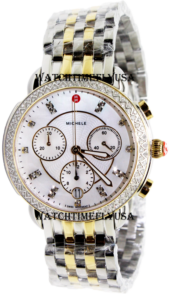 MICHELE Sidney Diamond Two-Tone, Diamond Dial Watch MWW30A000005