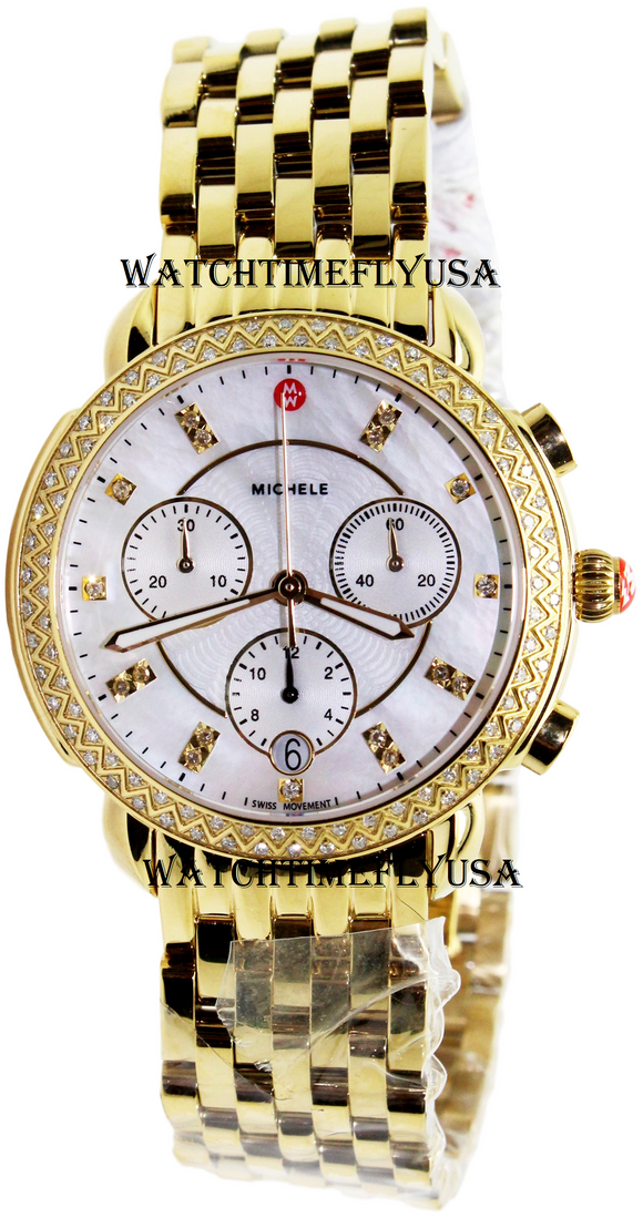 MICHELE Sidney Diamond Gold, Diamond Dial Watch MWW30A000008
