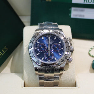 Rolex 116509 White Gold Cosmograph Daytona 40 Watch Blue Index Dial