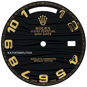 ROLEX Day-Date II Black Wave Dial For Yellow Gold President 218238