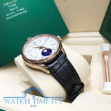 Rolex 50535 Cellini Moonphase 39mm Rose Gold Leather Strap