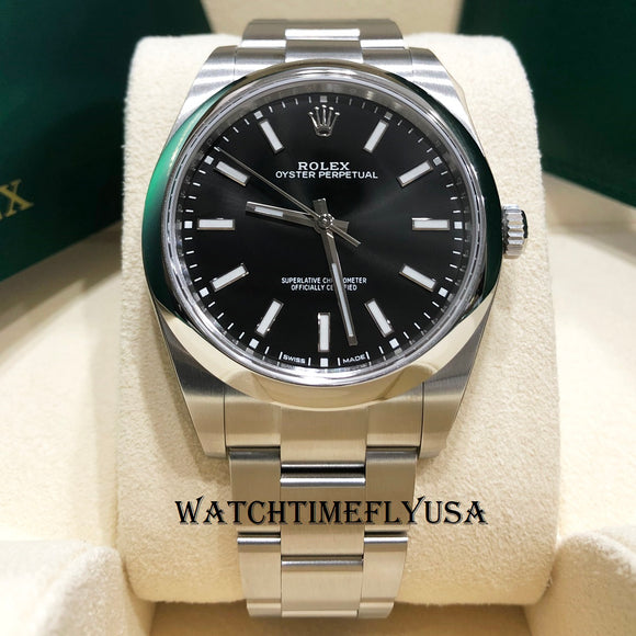 Rolex 114300 Oyster Perpetual 39 Stainless 39mm Black Dial