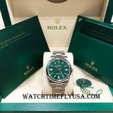 Rolex Oyster Perpetual 41 124300 Green Dial Stainless Steel 41mm 2020 Release