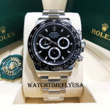 Rolex 116500 Daytona Steel Cosmograph 40 Watch Black Index Dial