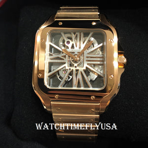 Cartier WHSA0008 Santos De Cartier Skeleton Rose Gold