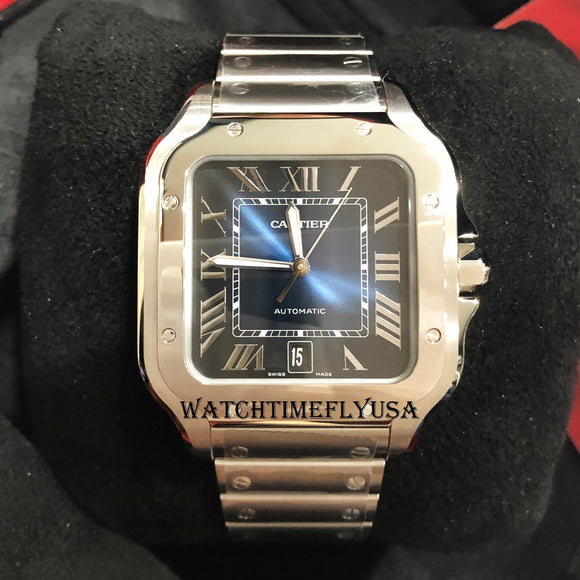 Cartier WSSA0013 Santos de Cartier Blue Dial Watch Stainless Steel