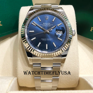 Rolex 126334 Datejust 41 Blue Index/Stick Oyster Stainless Steel